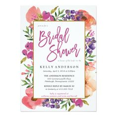 Modern Watercolor Floral Bridal shower invitation | Purple, pink, peach, orange