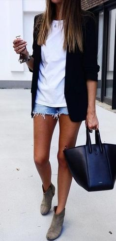 #fall #outfits women's black blazer, white shirt, and blue denim short shorts outfit