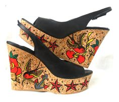 Tattoo Girl Cork Platform Wedges Shoes  Old by GabbieCustomArt, $99.00