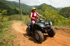 ATV Adventure Tour in Jaco  You will be picked up from your hotel and delivered to the 850-acre private river valley in minutes. Professional guides outfit you with safety gear, explain how to operate the ATV and lead you through the 6 km of trails in the valley, never riding on the dangerous highway. You will see monkeys, exotic birds, 500 year old trees and no houses as you ride deep into the tropical jungle to the 180 foot waterfall called El Encanto where you can watch adv...