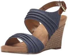 A2 by Aerosoles Women's May Plush Wedge Sandal, Denim Combo, 8 M US. Dress pump. Heel rest technology. Double padded memory foam insole. Sueded sock insole. Diamond pattern sole.