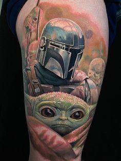 """Evan Olin & Josh Payne > Mando & Baby Yoda (Star Wars: The Mandalorian) War Tattoo, Star Wars Tattoo, Tattoo Ink, Sleeve Tattoos For Women, Tattoos For Guys, Cool Tattoos, Baby Tattoos, Life Tattoos, Comic Tattoo"