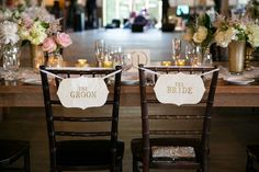 Bride & Groom Chair Signage | Photography: GarrenTee Photography. Read More:  http://www.insideweddings.com/weddings/summer-interfaith-wedding-with-rustic-details-at-an-inn-in-vermont/852/