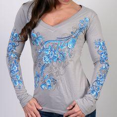 Hot Leathers China Pattern V-Neck Silver Long Sleeve -