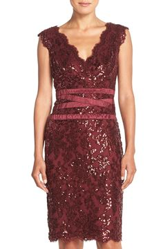 Tadashi Shoji Sequin Lace Sheath Dress (Regular