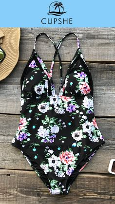 Spring New Arrival! Wear a color of power, elegance and mystery! Cupshe Glam Princess Print One-piece Swimsuit. A great choice for going out on the beach and for time by a swimming pool! Love! Love! Love!
