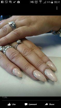 acrylic nails with gel polish and glitter n gems
