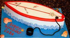 Cake for Travis Luau Cakes, Beach Cakes, Party Cakes, Party Party, Surfboard Cake, Surf Cake, Birthday Celebration, Birthday Parties, Cake Toppers