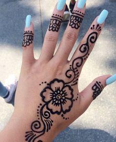 Pin by Lilli Schneider on Henna Pretty Henna Designs, Henna Tattoo Designs Simple, Henna Art Designs, Mehndi Designs For Beginners, Mehndi Designs For Fingers, Henna Flower Designs, Cute Henna Tattoos, Henna Tattoo Sleeve, Jagua Henna