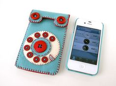 Dial Phone iPhone case No65 smoky turquoise/burgundy by hine.