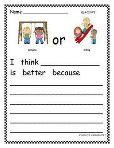 FREEBIE! OPINION WRITING: FAVORITE PLAYGROUND ACTIVITY - kindergarten writing -first grade writing -