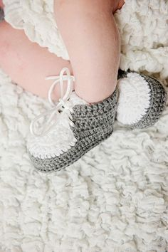 Baby Boy Crochet Shoes Gray and White Boy by DaisyNeedleWorks