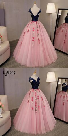 Robe De Soiree 2017 Prom Dresses With Crystal Embroidery Floral Prom Gowns Navy Blue With Coral Pink Ball Gowns Abiye A143