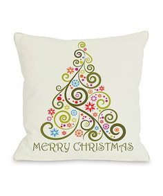 Merry Christmas Whimsical Tree Throw Pillow   zulily