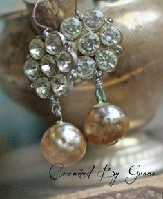 Pearl Drops - vintage assemblage earrings dimpled pearls rhinestone buttons