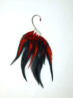 Feather Ear Cuff  FireBird FLAME  Red and by LoveJoyAdornments, $32.00