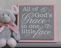Pink and Gray Nursery Signs - All Of God's Grace In One Little Face - Baby Girl Nursery Decor, God Grace Wood Sign Decorated with Tiny Heart