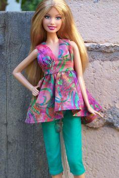 "OOAK a la catre capri fashion ""Lantana"" for model muse Barbie. $15.00, via Etsy."