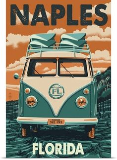 Long Beach, California - VW Van - Lantern Press ArtworkQuality Poster Prints Printed in the USA on heavy stock paper Crisp vibrant color image that is resistant to fading Standard size print, ready for framing Perfect for your home, office, or a gift Retro Kunst, Retro Art, Poster Wall, Poster Prints, Art Prints, Canvas Prints, Big Canvas, Canvas Paintings, California Vw