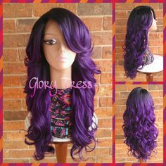 On Kim Kardashian Celebrity Hairstyle Ombre Purple Wig Long Loose... (1 020 SEK) ❤ liked on Polyvore featuring bath & beauty, grey, hair care and wigs