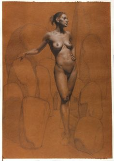 """Daniel Castro Gamelas """"Dreaming with the Cromlech"""" Graphite and white chalk on hand toned paper"""