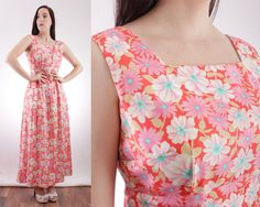 60s Cheerful Floral Maxi Dress with Bow Back Detail  by BGSvintage