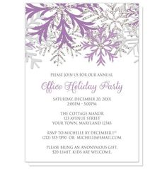 Can you picture the perfect celebration just by looking at the design on these Purple Silver Snowflake Winter Holiday Party Invitations? Are you inspired? What occasions do you have coming up?  | Purple and Silver snowflake design Holiday party invitations for your personal or company parties. Snowflakes design Christmas or Holiday Party invitations (Home or Office Party) for your Winter celebration. They are designed with purple, silver glitter-illustrated, and light gray snowflakes over a…