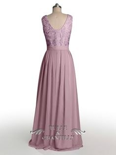 Dramatic Vintage Lace Bridesmaid Dress with Flowing Chiffon Skirt 4