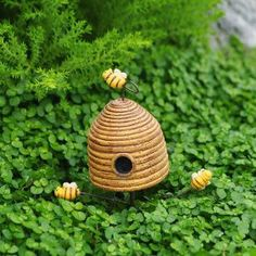 Amazon.com: Miniature Fairy Garden Yellow Bee Skep Pick: Home & Kitchen
