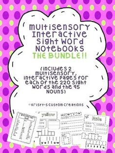 Multisensory interactive sight word notebooks are an excellent tool for teaching sight words.I have been using these in my classroom for the past three years and this activity is by far my students' favorite thing to do in Language Arts! All you need is a notebook (my students use composition notebooks) and your students will do all the work! There is NO PREP for you, just print!    SIX interactive notebooks are included: Pre-Primer Notebook, Primer Notebook, 1st Grade Notebook, 2nd Grade Notebo