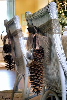 Pinecones and bulbs tied with burlap to back of chairs