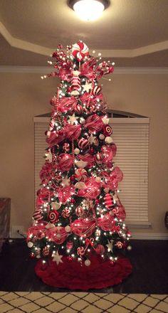 Christmas tree, Christmas, red and white Christmas tree, deco mesh, peppermint Christmas tree