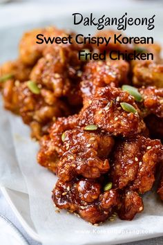 Crispy Korean fried chicken glazed in a sticky, sweet, and spicy sauce. This dakgangjeong recipe uses bite sized boneless chicken pieces, so it cooks up fast for a quick snack! #chicken #koreanchicken #crispyfriedchicken #dinner #koreanrecipe #koreanbapsang @koreanbapsang | koreanbapsang.com Sauce For Chicken, Glazed Chicken, Crispy Chicken, Boneless Chicken, Chicken Recipes, Recipe For Chicken Pieces, Asian Recipes, Ethnic Recipes, Asian Foods