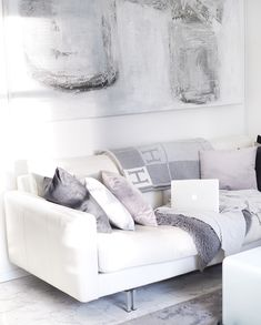 Art by Tanja and coffee moment at home Living Room Kitchen, White Decor, Humble Abode, Love Seat, Sweet Home, Lounge, Couch, Paintings, Throw Pillows