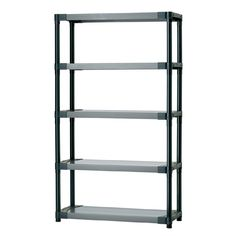 Blue Hawk H x W x D Plastic Freestanding Shelving Unit at Lowe's. The Blue Hawk storage shelving unit offers additional storage space for your utility room, pantry, garage or closet. Featuring 5 shelves to keep Plastic Shelving Units, White Shelving Unit, Garage Storage, Storage Shelves, Storage Spaces, Basement Storage, Closet Shelves, Basement Ideas, Storage Ideas