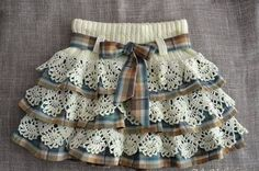 Fabric and crocheted lace skirt Baby Tulle Dress, Baby Skirt, Little Girl Dresses, Girls Dresses, Baby Dresses, Dress Girl, Skirts For Kids, Crochet Skirts, Crochet Baby Clothes