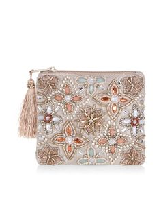 Our Elsa embellished purse is ornamented with jewels and beads in beautiful floral motifs, and finished with a tasseled zip fastening.