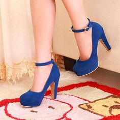 New Fashion Woman's Suede Ankle Strap Womens High Heel Platform Sexy Pumps Shoes