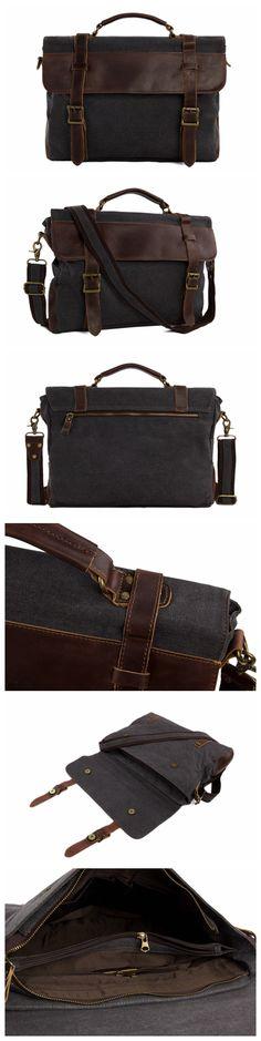 ROCKCOW Vintage Canvas Leather Messenger Traveling Briefcase Shoulder Laptop Bag