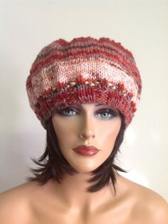 Hand Knit Hat Beret Beanie Slouch Multicolor by HANDKNITS2LOVE, $39.00