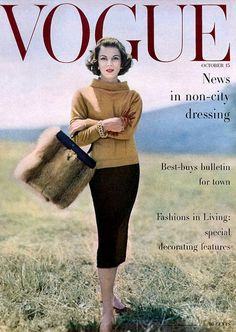 1956 Virginia Taylor in cashmere sweater by Bonnie Cashin, tweed skirt by…