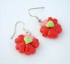 """Ręcznie wykonane kolczyki z modeliny """"Kwiatki""""   więcej info na priv:   joyfulworks4you@gmail.com"""