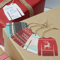I've just found Vintage Christmas Jumper Gift Tags. Love a Christmas Jumper?. £2.99