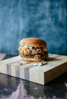 Beet & Beef Burgers with Roasted Peach & Mint Salsa and Blue Cheese // www. WithTheGrains.com