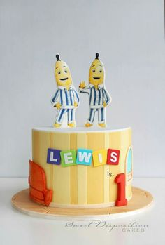 Bananas in Pyjamas - Sweet Disposition Cakes 1st Birthday Parties, 2nd Birthday, Birthday Cakes, Birthday Ideas, Banana Lounge, Banana Party, Banana In Pyjamas, Banana Cupcakes, Vegan Cake