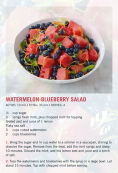 #Recipe: 🍉 Watermelon-Blueberry Salad 🥗   #HealthyEating #HealthyRecipe