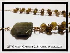 Green Garnet 2 Strand Necklace and Earrings Rock Necklace, Strand Necklace, Garnet, Rocks, Stud Earrings, Necklaces, Free Shipping, Jewelry, Collar Necklace