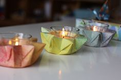 great idea for center pieces: watercolor origami candle deco