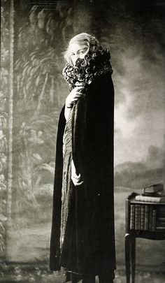 Madeleine Vionnet wearing evening cape, model 32, 1918.