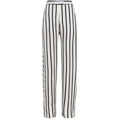 Nicholas Striped Wide-Leg Pant (€440) ❤ liked on Polyvore featuring pants, trousers, bottoms, jeans, pantalones, zipper pocket pants, white striped pants, pocket pants, stripe pants and white zipper pants